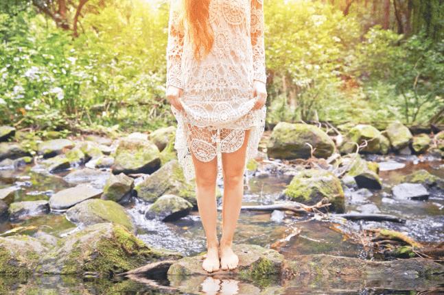 Woman river walking spirit