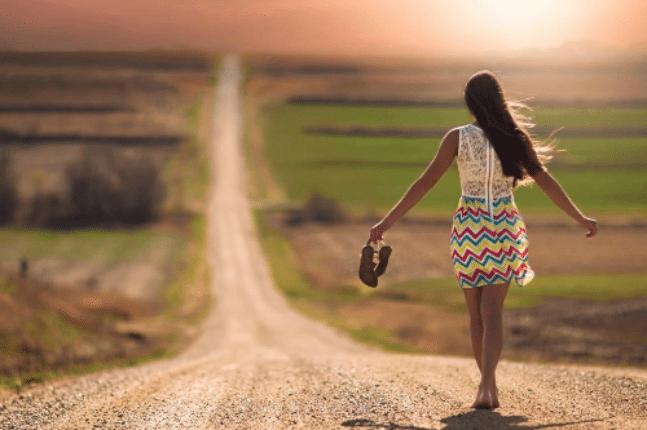 Woman choosing her path