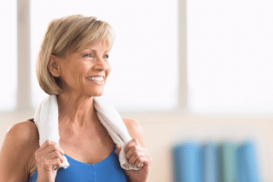Woman health older lady sweat towel exercise menopause