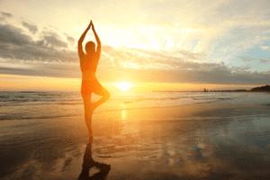 Woman yoga sunset, sunrise, poses
