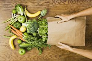 Vegetables, fruits, market bag, groceries, fresh, greens