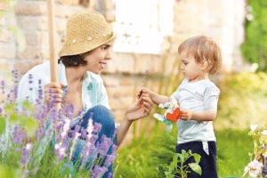 Mother son child garden meditation mindfulness