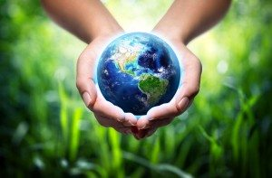 26743615 - earth in hands - grass background - environment concept