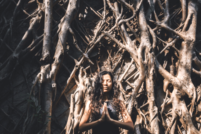 woman yoga forest prayer meditation
