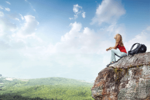 Woman mountain, climb, hike, space, relax, meditate