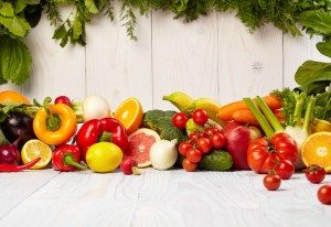36905975 - fruit and vegetable borders fruit and vegetable borders on wood table