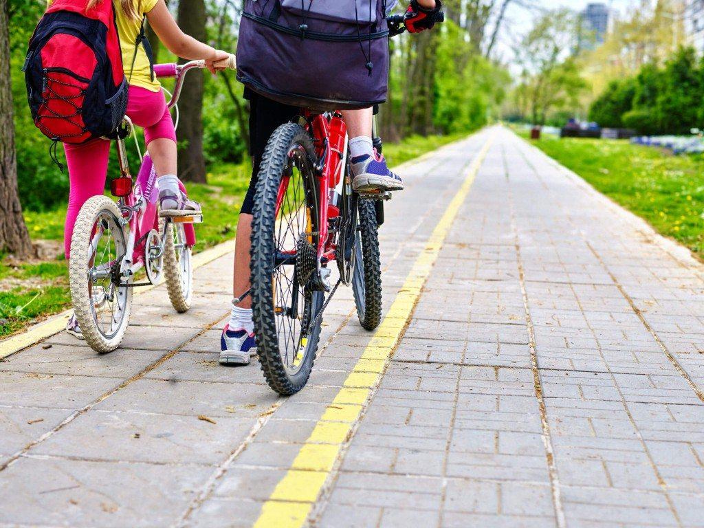 cyclist riding on bike path