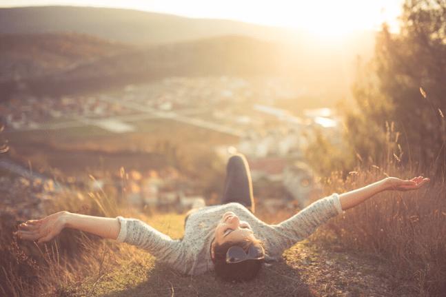 Woman freedom sunrise mountain ocean town love happy money
