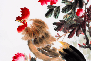 Year of the rooster art watercolour