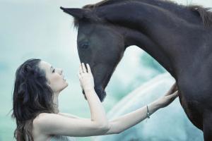 Horse woman healing happy love beauty