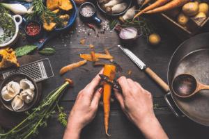preparing raw vegatables