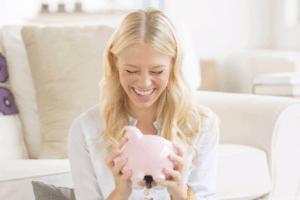 woman money happy finance abundance