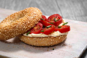 Tomato & Cream Cheese on a Sesame Seed Bagel
