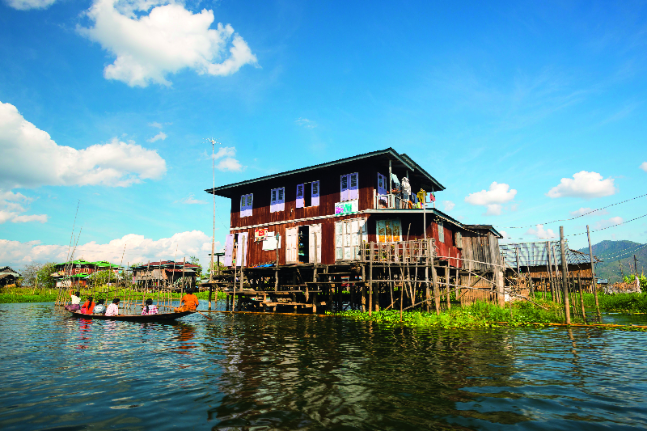HIgh and dry, stilted homes on Inle Lake