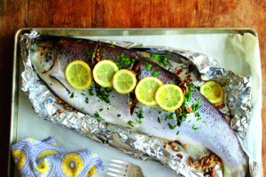 Whole Baked Salmon with Parsley and Walnuts