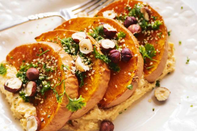 Warm Roast Pumpkin & Hazelnut Hummus Salad