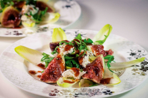 Fig & Persian Feta Salad with Wild Rosella & Chilli Dressing