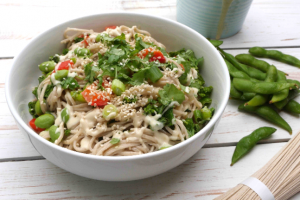Tahini Buckwheat Noodles with Edamame Recipe