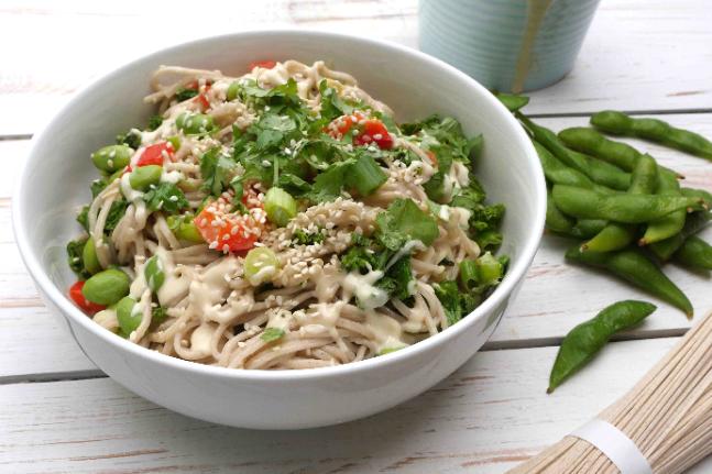Tahini Buckwheat Noodles with Edamame Recipe