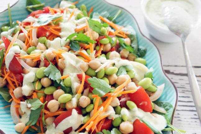 Edamame & Chickpea Salad with Green Tahini Dressing Recipe