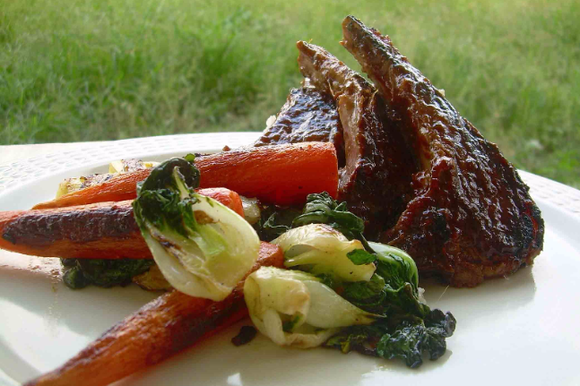 Marinated Lamb Chops with Stir-Fried Pak Choy & Baby Carrots