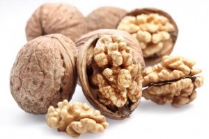 Walnuts isolated on a white background.