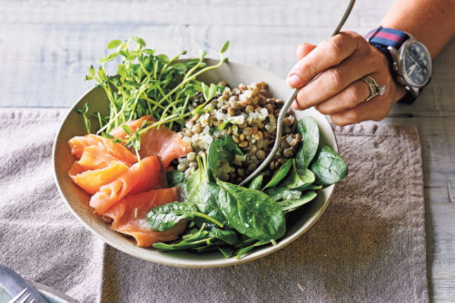 Smoked salmon living lentil bowl recipe wellbeing smoked salmon living lentil bowl forumfinder Image collections