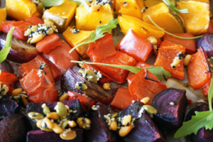 Coconut Oil Roasted Vegies with Maple Toasted Seeds Recipe