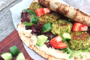 Pea Falafel and Hummus Wrap Recipe