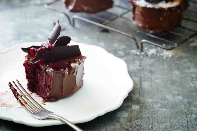Chocolate Beetroot Mud Cake with Chocolate Shavings
