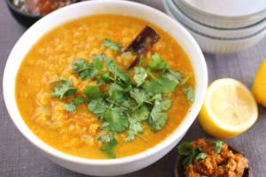 Red Lentil Dhal with Lime Pickle