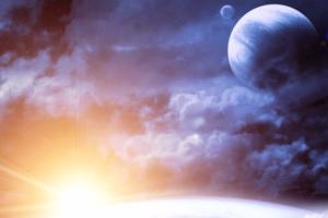 sun moon clouds planet stars universe