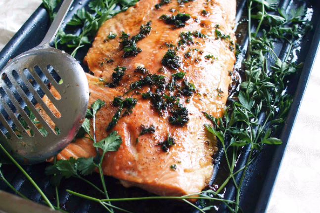 Whole Side of Salmon with Brown Butter Sauce Recipe