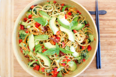 Raw Carrot Noodle Salad with Pesto Dressing Recipe