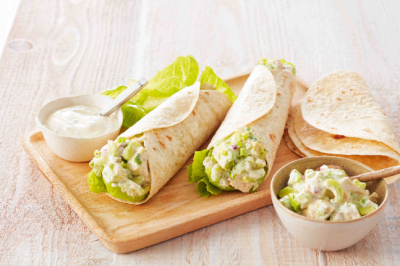 Loaded Chicken & Avocado with Chia Yoghurt Dressing in a Low Carb Wrap