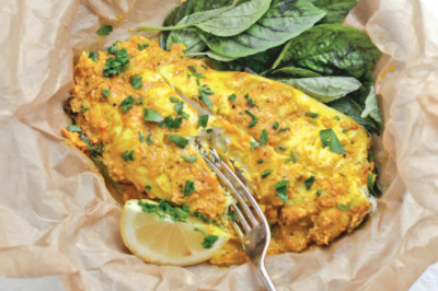 Steamed White Fish with Ginger & Turmeric