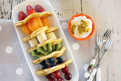 Fruit Salad Pikelet Skewers