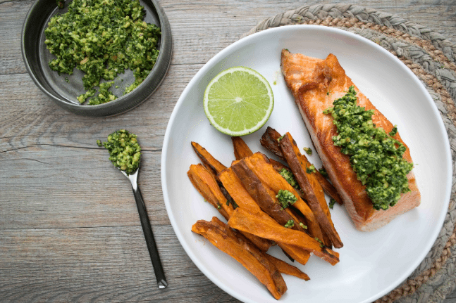 Crispy Salmon, Sweet Potato Chips & Lime Coriander Pesto