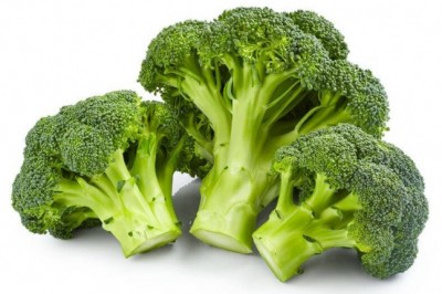 broccoli set against a white background