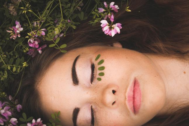 women happy nature flower