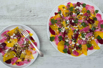 Beetroot Carpaccio with Maple Roasted Pepitas and Feta Recipe