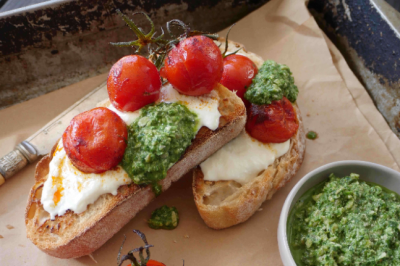 Ricotta, Pesto and Roasted Tomato on Bruschetta Recipe