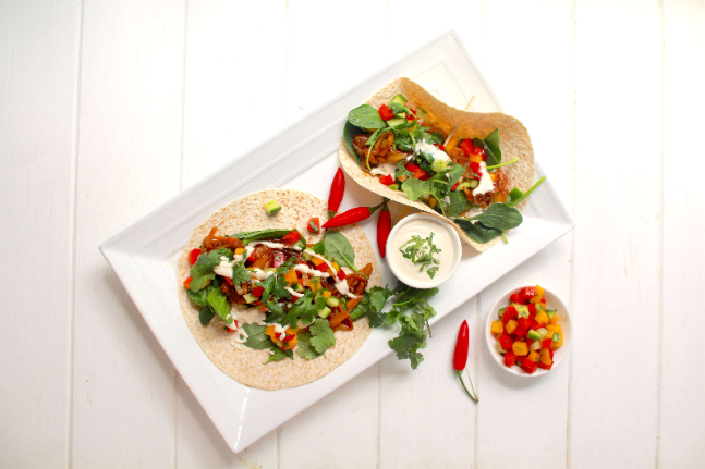 Jackfruit with Soft Tacos, Salsa and Greens Recipe