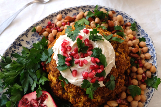 Spiced Roasted Cauliflower with Chickpea Salad Recipe