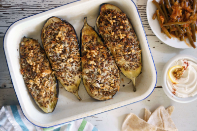 Eggplant Stuffed with Lebanese Rice and Slow-Braised Beans Recipe