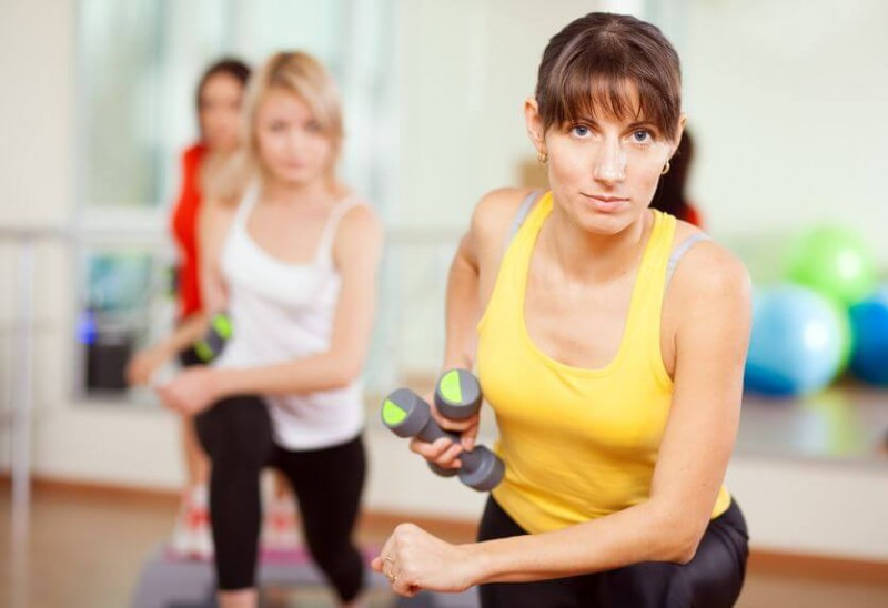 woman training in a fitness class
