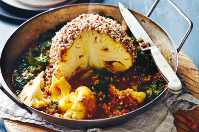 Recipe Whole Roasted Cauliflower with Almonds & Dukkah