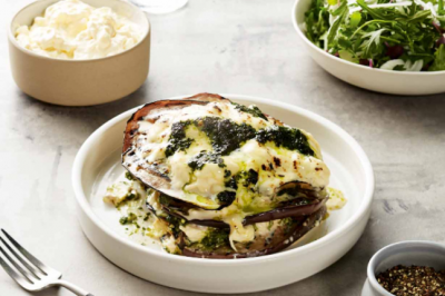 Eggplant Parmigiana with Rocket & Fennel Salad That's Amore Cheese sponsor recipe