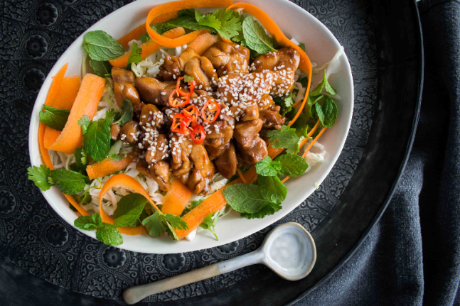 Gluten-free Healthy and Delicious Korean Chicken with Salad Slaw