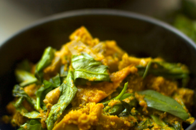 Jackfruit and Pumpkin Curry with Spinach Recipe